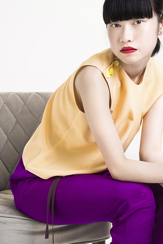 GotoAsato travelling18 Color Silk Buttoned Top, Color Silk Patch Pants