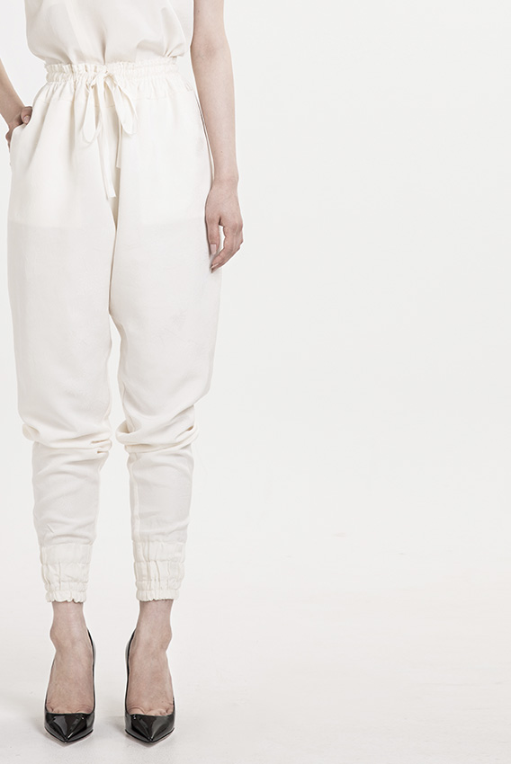 GotoAsato travelling18 White Silk Buttoned Top, Select Silk Patch Pants
